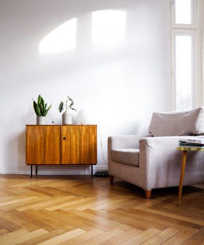 Houten visgraat vloer tapis